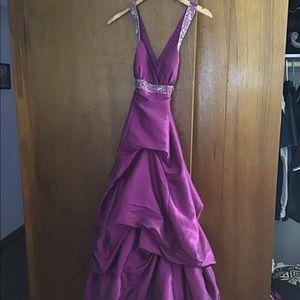 Magenta halter prom dress.